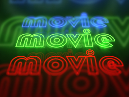 neon sign: Movie neon glowing sign set isolated on black background Stock Photo