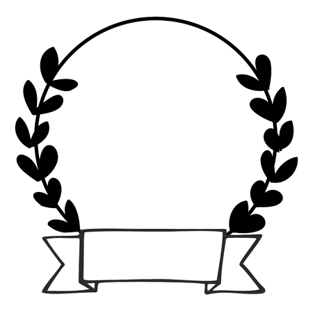 Laurel wreath black and white vector photo frame isolated on white background
