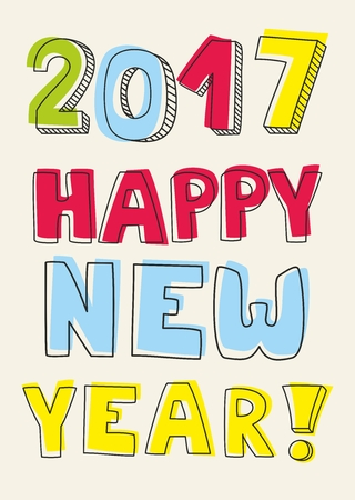 wishes: Happy New Year 2017 vector wishes Illustration