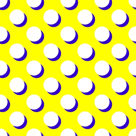 black shadow: Tile vector pattern with white polka dots and black shadow on yellow background
