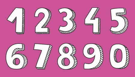 numerical: Hand drawn vector numbers isolated on pink background Illustration