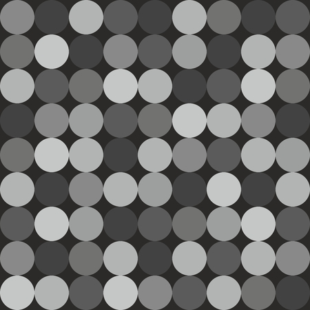 rows: Tile vector pattern with big white and grey polka dots on black background