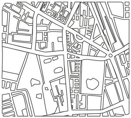 center city: Abstract city map vector illustration with streets and parks Illustration