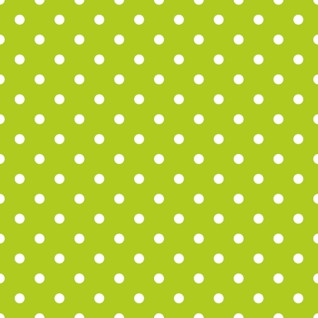 repetition dotted row: Tile vector pattern with white polka dots on green background
