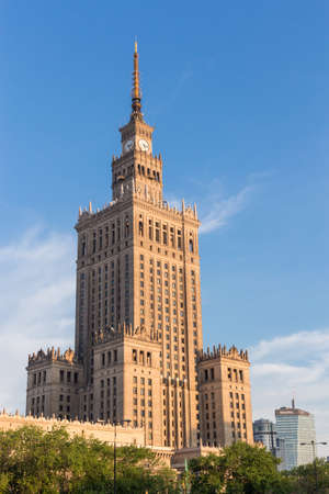 socialism: Warsaw historical architecture - Palace of Culture and Science. Monumental city skyscraper in Warsaw, Poland. Socialism symbol. Editorial