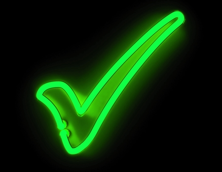 green tick: 3d render neon check icon isolated on black background