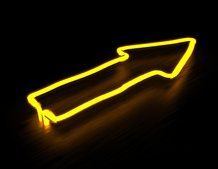 neon sign: 3d render arrows neon sign isolated on black background