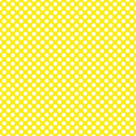 黄色の背景に白の水玉模様のタイルのベクトル パターン  イラスト・ベクター素材