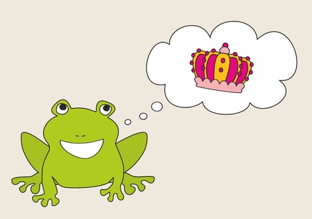 princess frog: Prince or princess frog dreaming about crown. Vector illustration isolated on white background Illustration