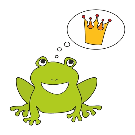 Prince or princess frog dreaming about crown. Vector illustration isolated on white background Illustration