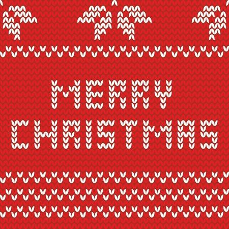 Merry Christmas red knitting vector card