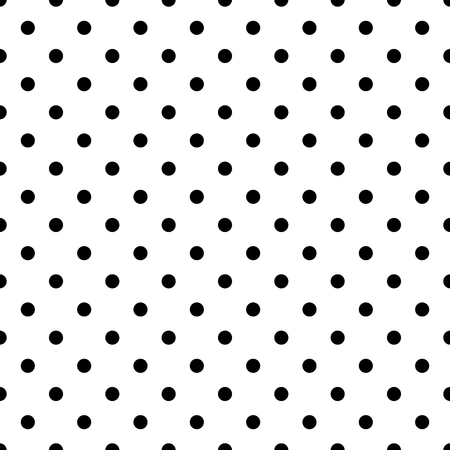 Tile vector pattern with black polka dots on white background