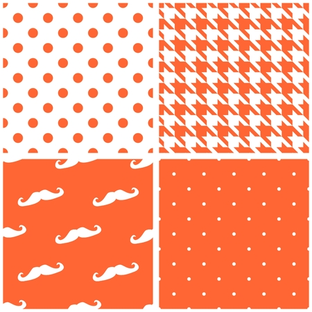 Tile vector pattern set with orange and white dots, houndstooth pattern and mustache background collection.