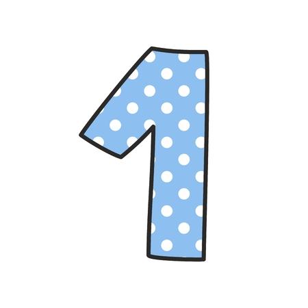 numero uno: dibujado a mano vector de número 1 con los lunares en colores pastel azul aislados sobre fondo blanco Vectores