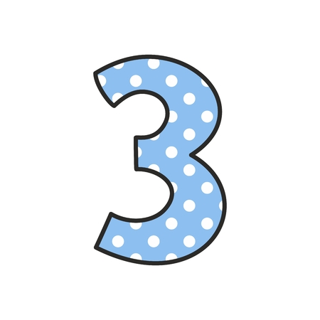 Hand drawn vector number 3 with polka dots on pastel blue isolated on white background
