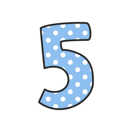 traditional pattern: Hand drawn vector number 5 with polka dots on pastel blue isolated on white background