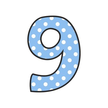 numero nueve: Dibujado a mano vector número 9 con lunares en azul pastel aislado sobre fondo blanco Vectores