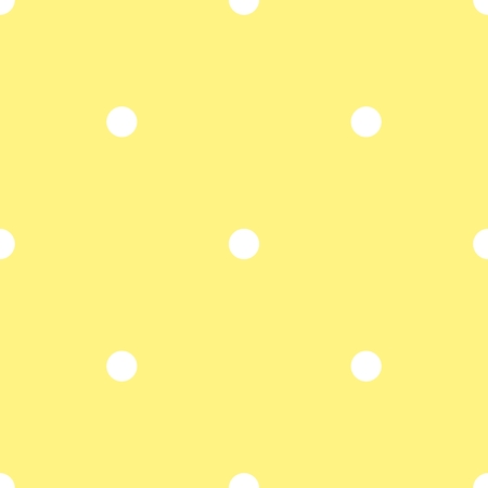 polka: Tile vector pattern with white polka dots on yellow background