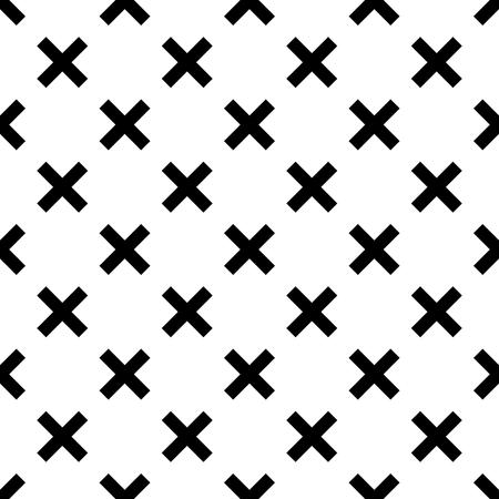 Tegel zwart en wit x kruis vectorpatroon Stock Illustratie