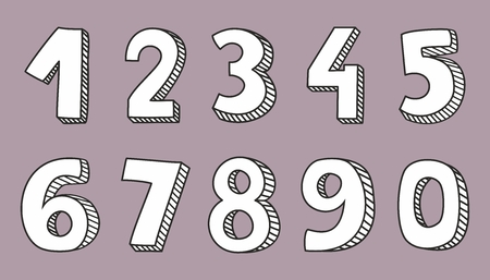 numbers: Hand drawn white numbers
