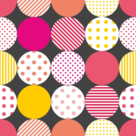 patchwork pattern: Tile patchwork pattern with pastel polka dots on black background Illustration