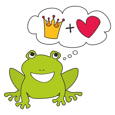Prince or princess green frog dreaming about crown and love. illustration isolated on white background