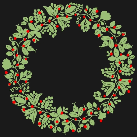 Green and red christmas vector wreath isolated on black background