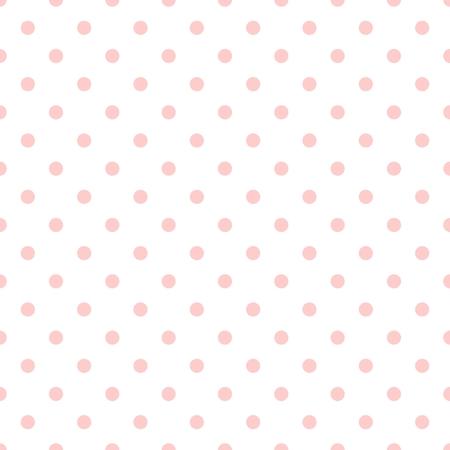 patrón de mosaico del vector con lunares de color rosa sobre fondo blanco