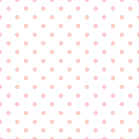 polka: Tile vector pattern with pink polka dots on white background