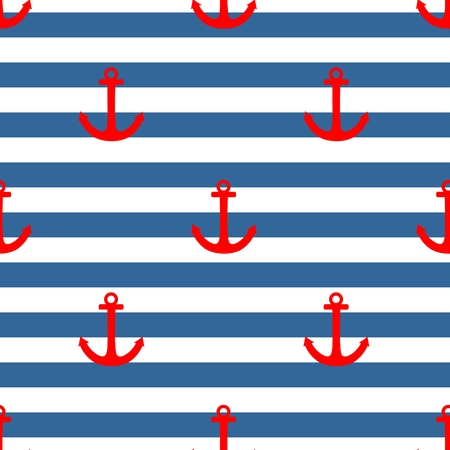 Tile sailor vector pattern with red anchor on navy blue and white stripes background Illustration
