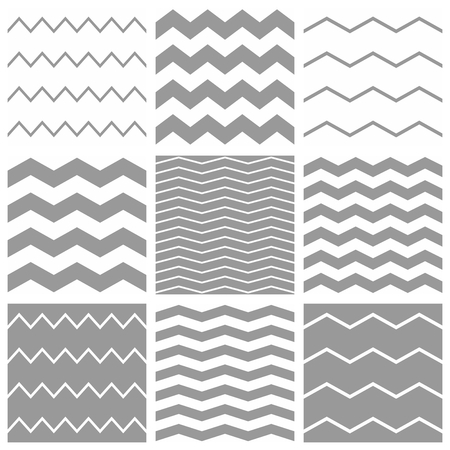 zag: Tile chevron pattern set with white and grey zig zag background Illustration
