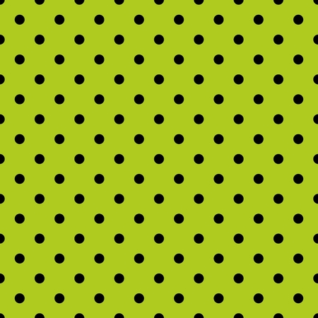 Tile spring pattern with black polka dots on grass green background. Illustration