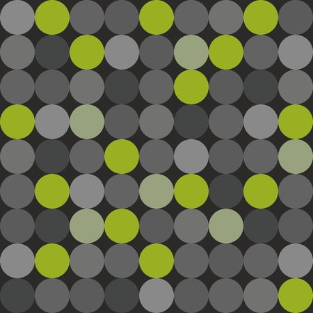 Tile vector pattern with big green, grey and black polka dots on grey background Illustration