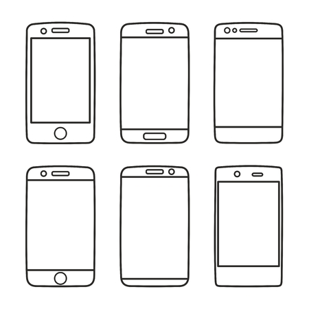 sihlouette: Smartphone vector icon set isolated on white