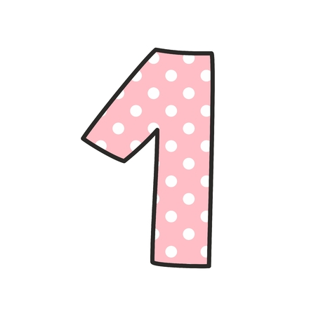 number icons: Number 1 with white polka dots on pastel pink, vector illustration isolated on white background