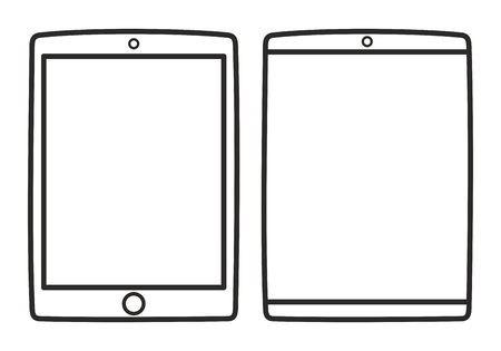 sihlouette: Tablet vector icon set isolated on white Illustration