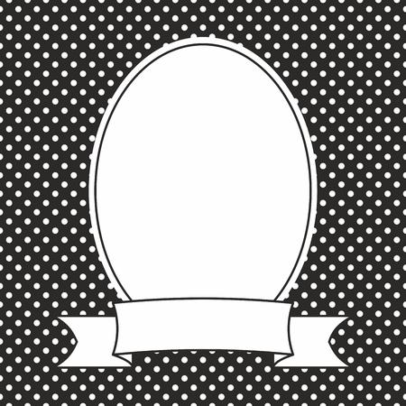 on white: Vector photo frame and white polka dots on black background Illustration