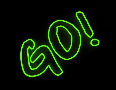 Go neon sign isolated on black background