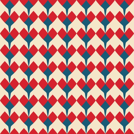 corazones azules: Tile vector pattern with red and blue hearts on pastel background for seamless decoration wallpaper