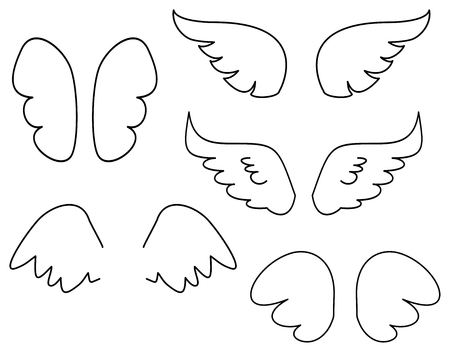 wings bird: Wings collection. Vector illustration set with angel or bird wing icon isolated on white background