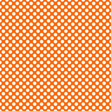 Tile vector pattern with white polka dots on orange background Illustration