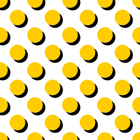 black shadow: Tile vector pattern with yellow polka dots and black shadow on white background