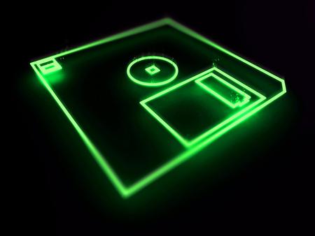 fdd: Floppy disk drive 3d neon on black background Stock Photo