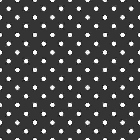 黒の背景に白の水玉模様のタイル暗いベクトル パターン  イラスト・ベクター素材