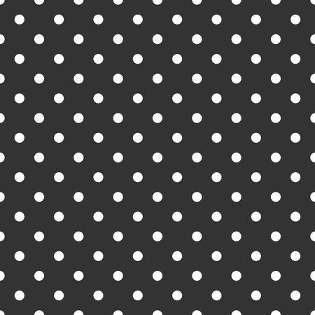 Tile dark vector pattern with white polka dots on black background