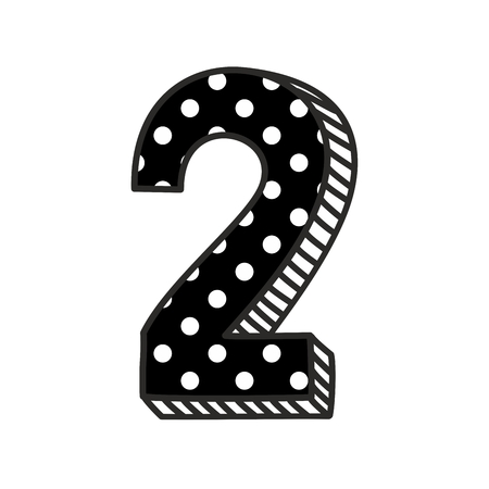 Hand drawn number 2 with white polka dots on black, isolated on white background