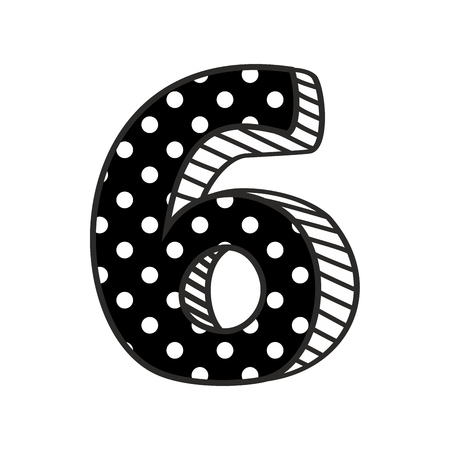 numerical: Hand drawn number 6 with white polka dots on black, isolated on white background