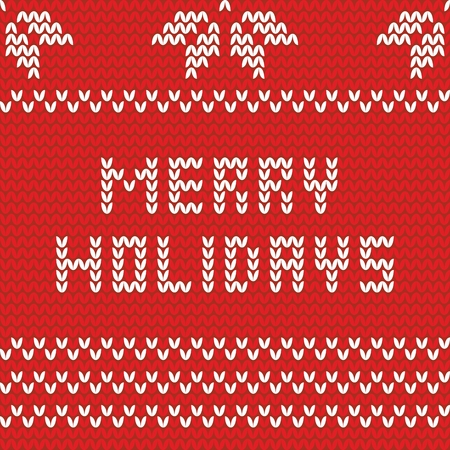 Merry holidays red knitting vector card