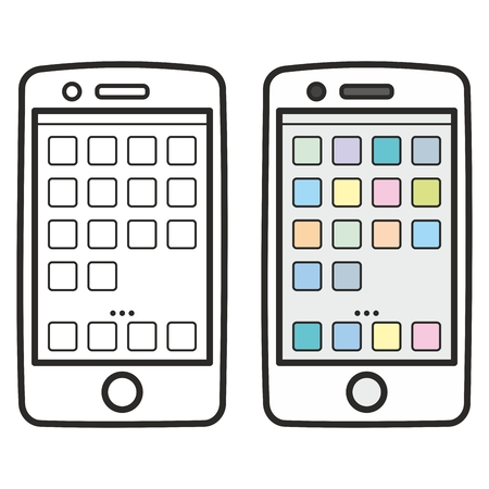 sihlouette: Smartphone icon set isolated on white