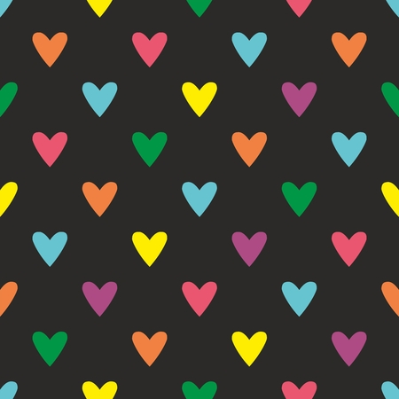 pink and black background: Tile pattern with hearts on black background for seamless decoration wallpaper